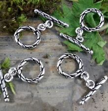 4 Quality patterned silver plated pure copper toggle necklace/bracelet clasps