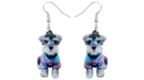 Stunning In Organza Gift Bag Lovely Pair Of  Acrylic Schnauzer Dangle Earrings