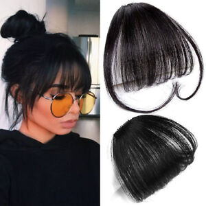 Fashion-Thin-Neat-Air-Bangs-Clip-Human-Hair-Extension-Hair-Piece-With-Sideburns