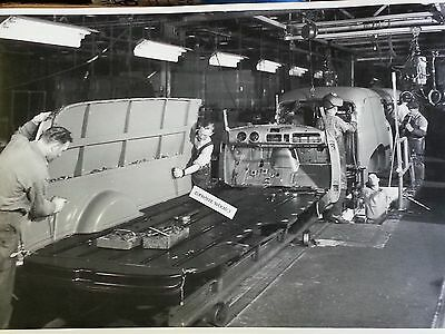 "1952 Chevy Panel truck assembly line 12X18"" Black & White Picture"