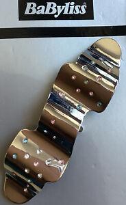 Una finitura a specchio argentata Onda design in metallo barrette per capelli clip con pendente pietre