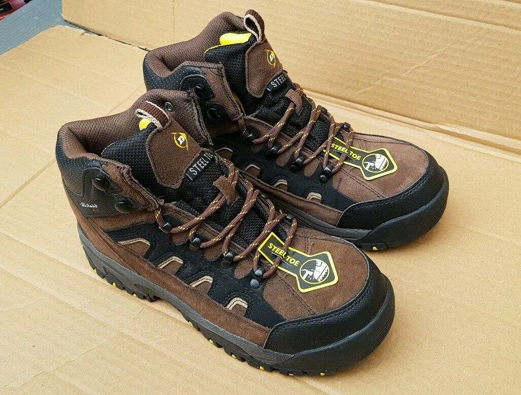 BRAND NEW DUNLOP SAFETY STEEL TOE CAP WORK HIKING BOOTS IN BROWN SIZE 7 UK