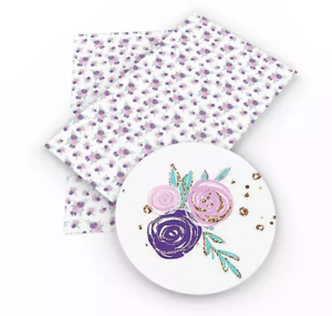 Pink /& purple flowers faux leather fabric sheet //full or 1//2 sheet