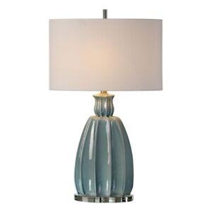 Suzanette - 1 Light Table Lamp  Crackled Sky Blue/Brushed Nickel/Crystal Finish