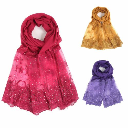 Womens mini floral embroirdered lace edge diamante neck wrap up head scarf