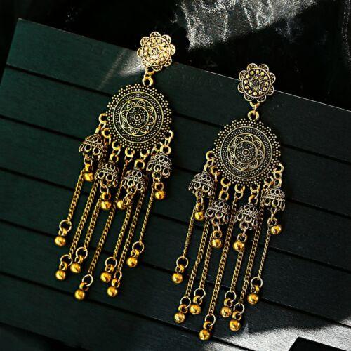 Gold Antique Classic Vintage Long Chain Tassel Jhumki Ethnic Gypsy Earrings