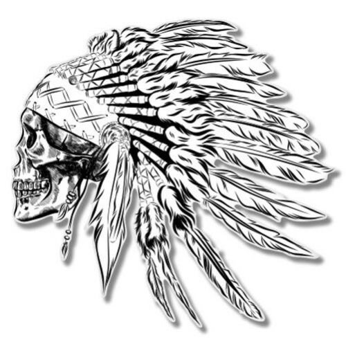 Indian Chief Skull Car Laptop Phone Vinyl Sticker SELECT SIZE