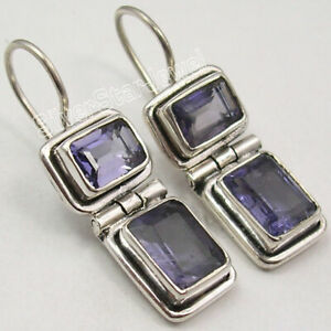 Iolite-6-2-tcw-Dangle-Earrings-1-1-034-Sterling-Silver-Wedding-Jewelry