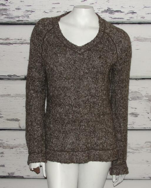 prAna~HEATHERED BROWN~WOMEN'S~CABLE KNIT~V-NECK~WARM SWEATER PULLOVER~L