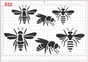 Big Bees Stencil MYLAR A4 sheet strong reusable Wall Art Craft Deco