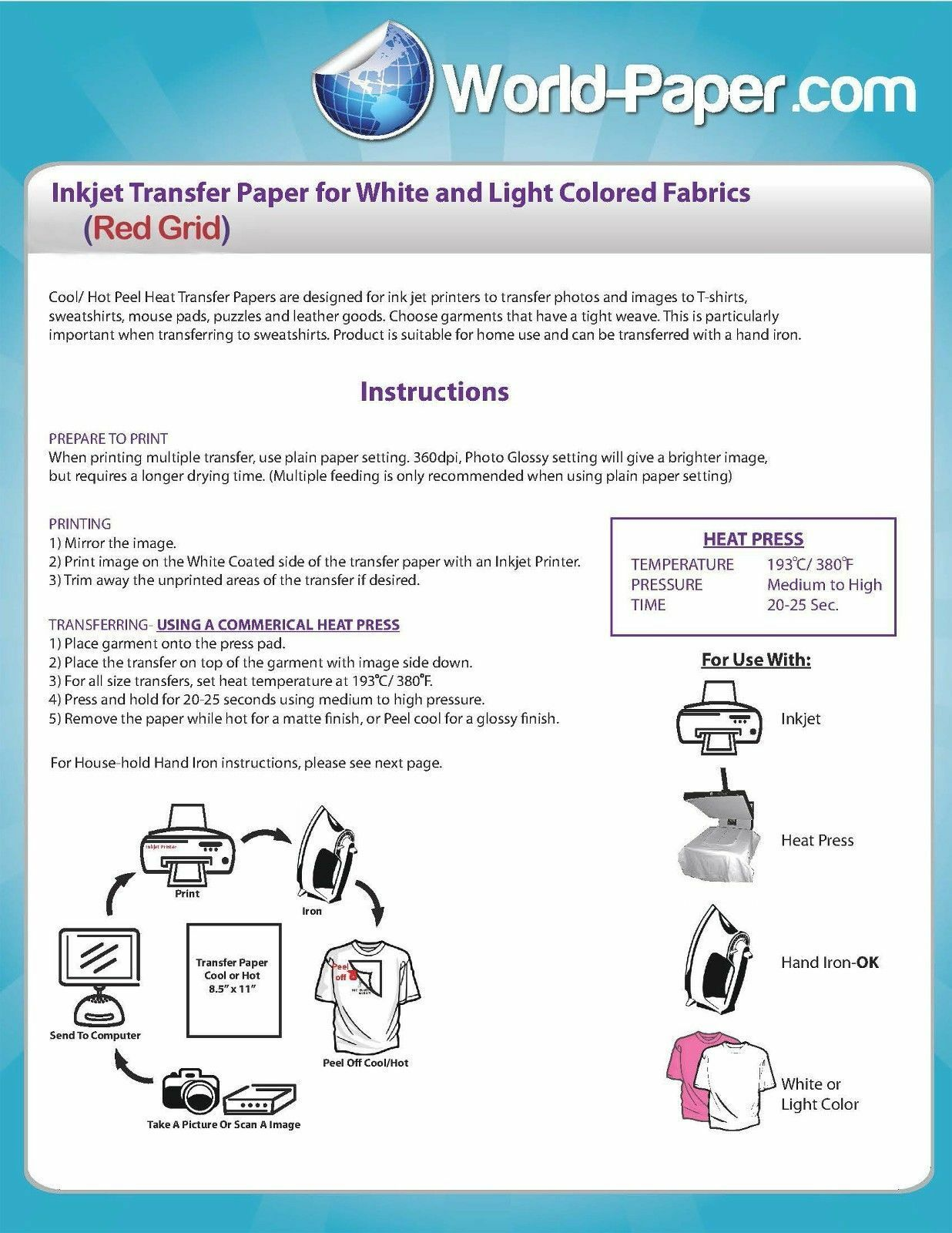 Heat Transfer Paper Red Grid Iron On Light T Shirt Inkjet Paper 100