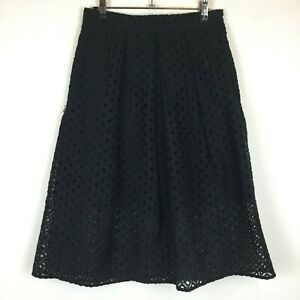 Portmans-Signature-Womens-Black-Lined-Lace-Look-Skirt-with-Back-Zipper-Size-10