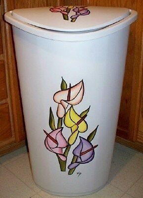 CALLA LILLY LAUNDRY HAMPER TRASH CAN//HAND PAINTED