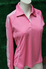 Ladies Adidas Climacool Coolmax Long Sleeve Golf Polo Shirt Med 12/14 Pink/White