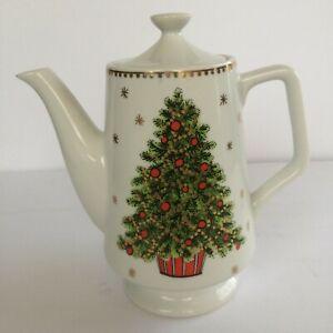 VINTAGE George Good CHRISTMAS TREE Japan Porcelain HOLIDAY 3 Cup Tea Pot Coffee