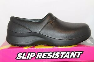 Womens-Fila-GALVANIZE-Rubber-Slip-On-Resistant-Non-Skid-Work-Clogs-Shoes-Black