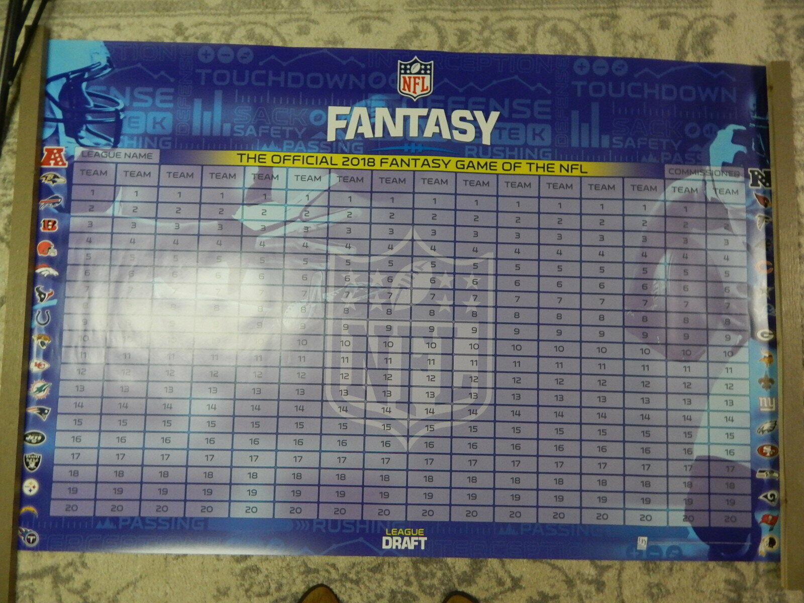 Player Labels 2020 Fantasy Football Draft Board with 500
