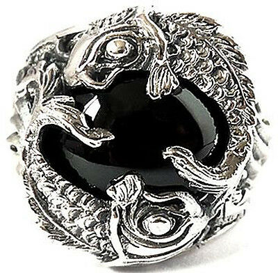 BIG BLACK ONYX JAPAN KOI CARP FISH 925 STERLING SILVER JAPANESE MEN RING Sz 13.5