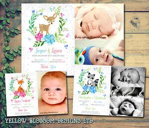 10-Baby-Thank-You-Cards-Newborn-Baby-Boy-Baby-Girl-Twins-Woodland-Animals-Cute