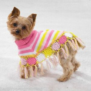 ... Canine-Dog-CROCHETED-Knit-SHAWL-Pink-amp-Yellow-Poncho-Sweater-Coat-XS