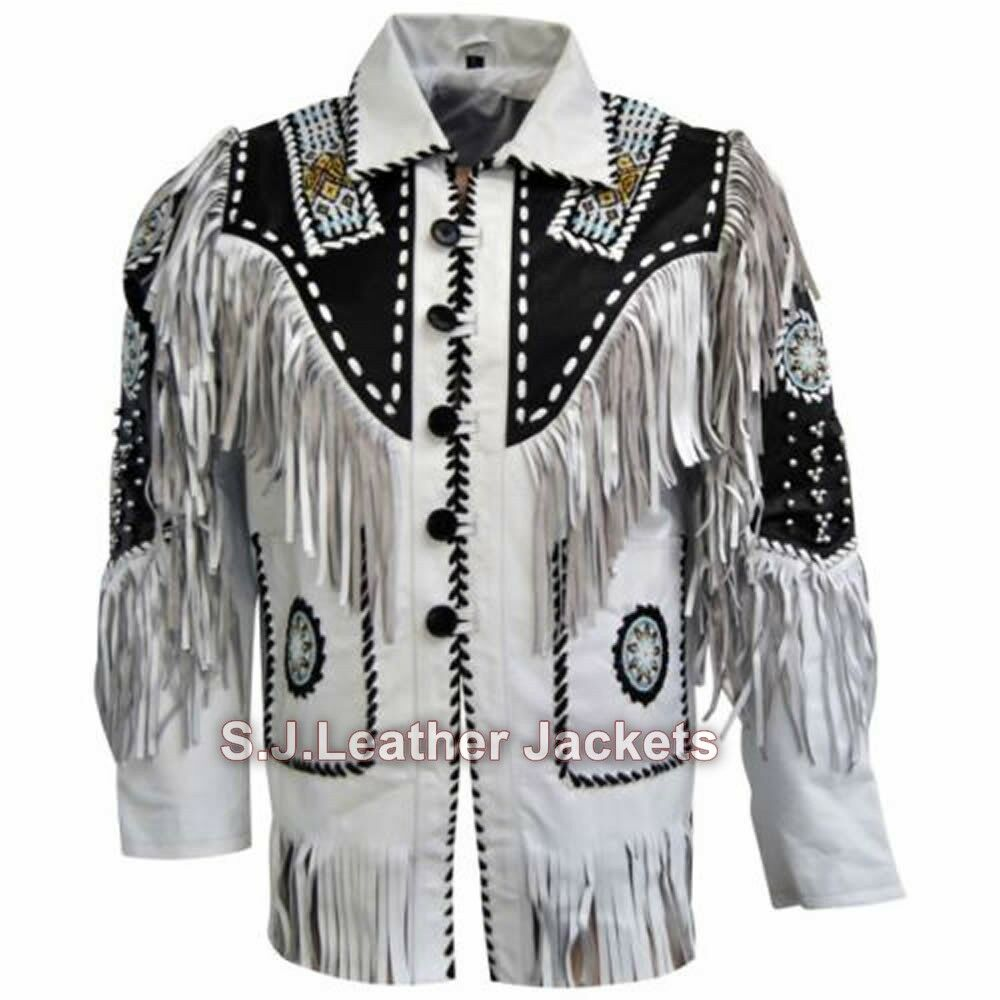 Men's Western Cow Leather Coat Special Beads and Fringes Xs-5xl Msg Re Size