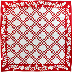 Red /& White Double Irish Chain QUILT TOP w hand applique borders