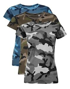 Womens Ladies GREY BLUE GREEN Camo T Shirt Military Army Jungle Camouflage Tee