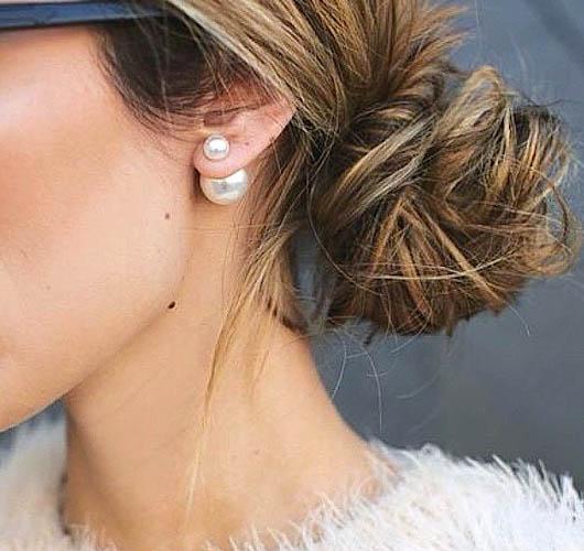 Double Sided White Pearl Faux Mise En Tribal Front Back High Low Cuff Earrings For Online Ebay