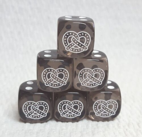 6 Dice *Pretzels*- 16mm Translucent Smoke w//white Pretzel as #1 /& white pips