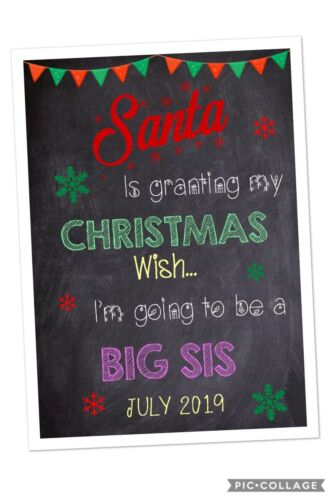 Christmas Pregnancy Announcement Print Big Sister Christmas New Baby A4
