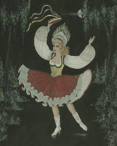 VINTAGE PRETTY GIRL PIN UP HOLLYWOOD COSTUME DANCING DANCER W/C 1940'S PAINTING