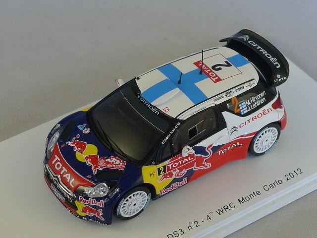 Spark S3327 - CITROEN DS3 WRC Monte n°2 Monte WRC carlo 2012 Hirvonen 1 43 bb46ea