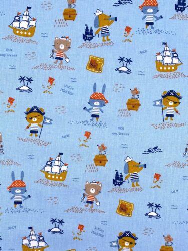 Algodón niños sustancia piratas animales azul claro ancho 150cm