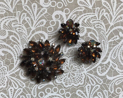 Vintage Brown Rhinestone Crystal Glass Necklace Earring Set Brown Rhinestone Rondelle Clip Earring Cased Gold Glass Smoked Topaz Crystal