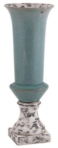 "20.5/"" Distressed Arctic Blue Ceramic Rustic Vase Crackle Finish Pedestal Base"