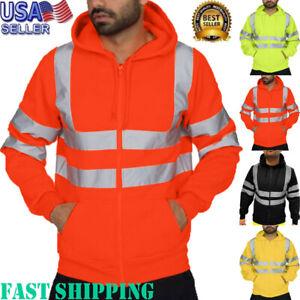Brief-Men-039-s-Road-Work-High-Visibility-Long-Sleeve-Hooded-Sweatshirt-Tops-Blouse