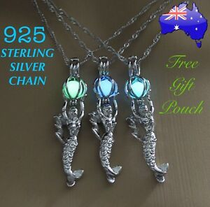 GLOW-in-the-DARK-Crystal-Mermaid-925-Sterling-Silver-Chain-Necklace-Gift-Pouch