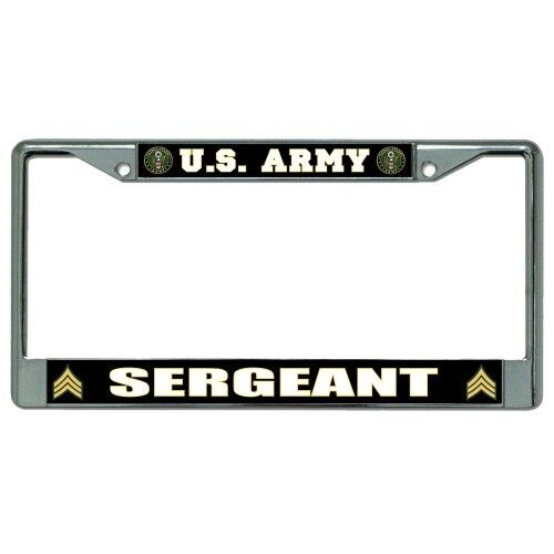 UNITED STATES ARMY SERGEANT LOGO LICENSE PLATE FRAME MADE IN USA