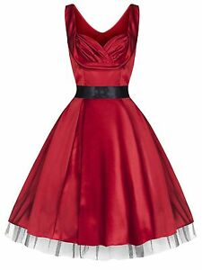 New-Glamorous-40-039-s-1950-039-s-Sweetheart-Red-Silky-Party-Prom-Cocktail-Dress-8-26