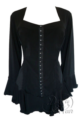 Small Gothic CORSETTA Stretch Corset Style Top JET BLACK Sizes 10//12