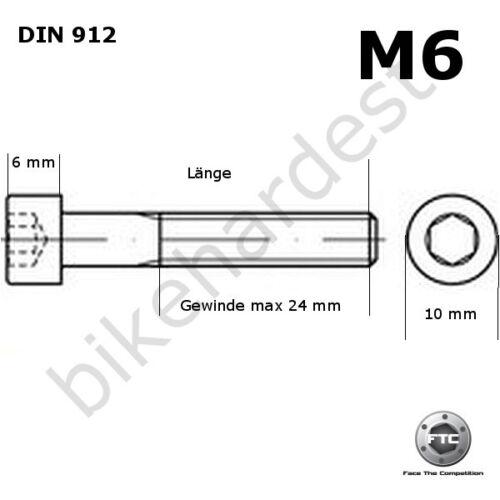 Titan vis m6 x 12-50 Cylindrique DIN 912 grade 5 Golden