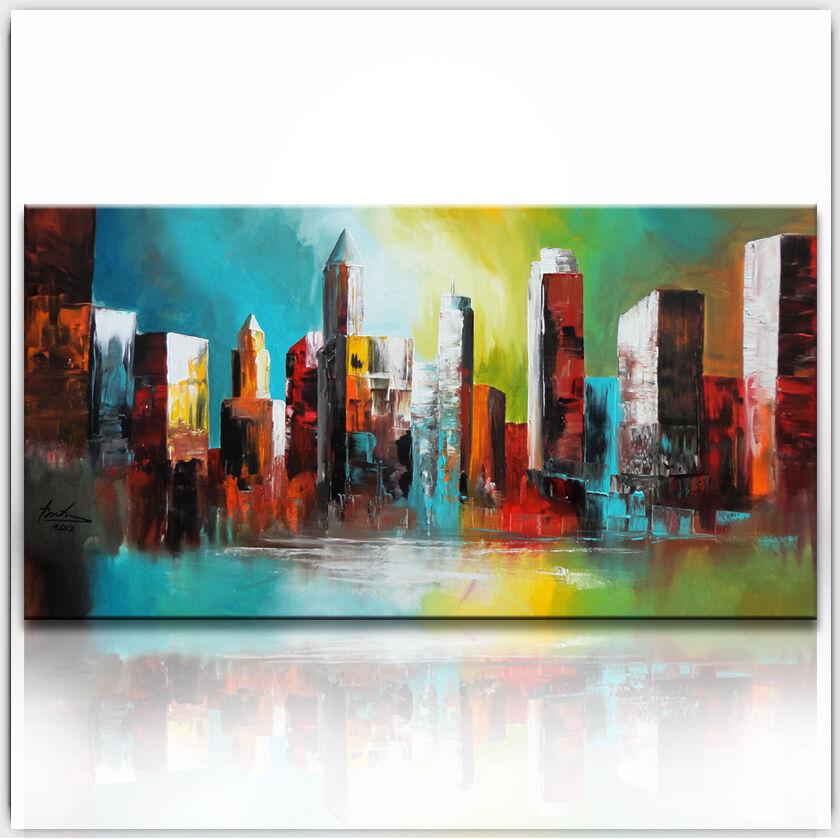 Skyline New York Villes Images Toile Abstrait Art la fresque XXL 376 A