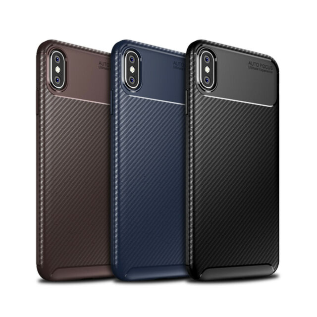 uk availability c9dc3 f839e Case For iPhone Carbon Fibre Soft Cover TPU Silicone Slim X XR XS Max 8 7  Plus 6