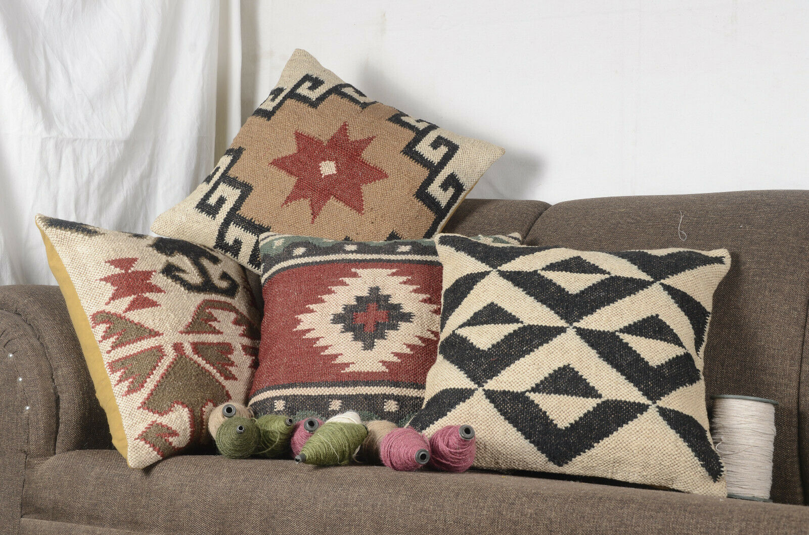 4 Pcs set of Jute Pillow Cover Throw Indian Jute Cushion Handmade Kilim Vintage