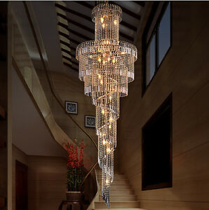 Image Is Loading European Style K9 Clear Crystal Chandelier Villa Stairs