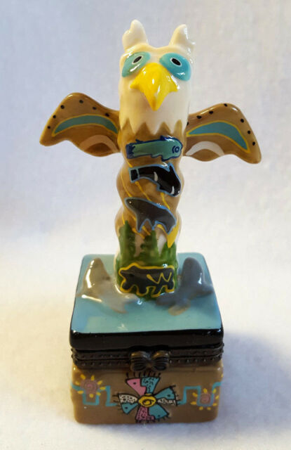 Totem Pole Trinket Box Native Bird Design Ceramic Hinged 4""