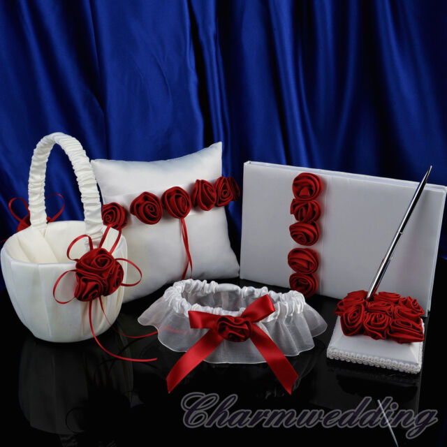 Red Rosettes Ivory Wedding Garter Guest Book & Pen Ring Pillow Flower Basket Set