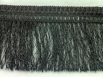 Il Prezzo Più Economico Taglio Scampolo Nero / Bianco Hairy Fringe 4.5 Pollici Wide (appox) X1m-mostra Il Titolo Originale