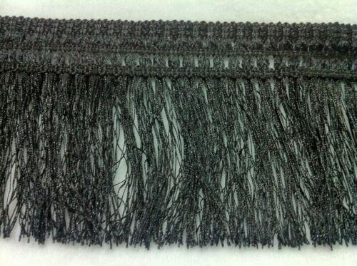 X1M APPOX FRINGE TRIMMING BLACK//WHITE HAIRY FRINGE 4.5INCH WIDE