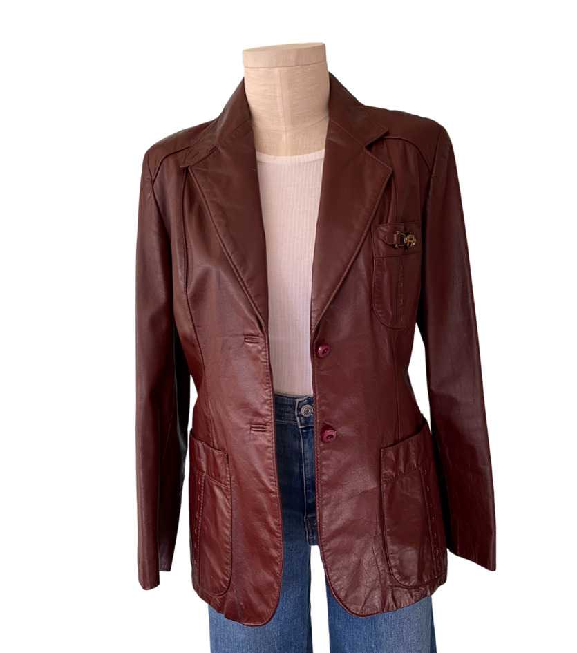 1970s Etienne Aigner Brown Fitted Blazer leather … - image 11